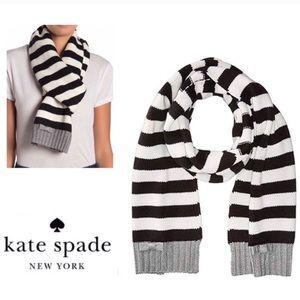 ♠️ Kate Spade Muffler Scarf NWT Black White Stripe
